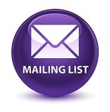 Mailing list glassy purple round button Stock Images
