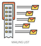 Mailing list line icons. Mailing list infographic metaphor with line icons. Project mailing list concept for website and infographics. Vector line art icon Stock Photo