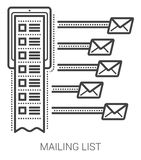 Mailing list line icons. Mailing list infographic metaphor with line icons. Project mailing list concept for website and infographics. Vector line art icon Royalty Free Stock Photo