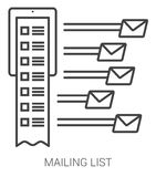 Mailing list line infographic. Royalty Free Stock Photography