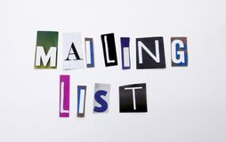 A word writing text showing concept of Mailing List made of different magazine newspaper letter for Business case on the white bac. Mailing List made of Royalty Free Stock Images