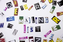 A word writing text showing concept of Mailing List made of different magazine newspaper letter for Business case on the white bac. Mailing List made of Royalty Free Stock Photos