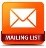 Mailing list orange square button red ribbon in middle Royalty Free Stock Photography