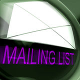 Mailing List Postage Means Contacts Or Email Database. Mailing List Postage Meaning Contacts Or Email Database Stock Photos
