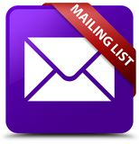 Mailing list purple square button red ribbon in corner. Mailing list isolated on purple square button with red ribbon in corner abstract illustration Royalty Free Stock Images