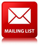 Mailing list red square button Royalty Free Stock Photography