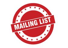 Mailing list round red stamp design. Isolated on white background royalty free illustration