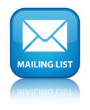 Mailing list special cyan blue square button. Mailing list isolated on special cyan blue square button reflected abstract illustration Royalty Free Stock Photography