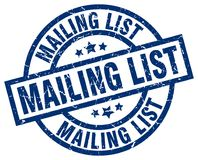 Mailing list stamp. Mailing list grunge stamp on white background Stock Images