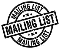Mailing list stamp. Mailing list grunge stamp on white background Royalty Free Stock Image
