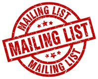Mailing list stamp. Mailing list grunge stamp on white background Stock Photo