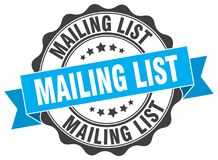 Mailing list stamp. Mailing list grunge stamp on white background Royalty Free Stock Photography