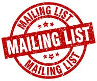 Mailing list stamp. Mailing list grunge stamp on white background Stock Image