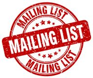 Mailing list stamp. Mailing list grunge stamp on white background Royalty Free Stock Images