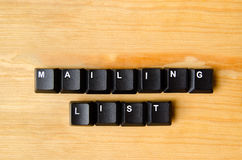 Mailing list words. With keyboard buttons Stock Photos