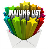 Mailing List Words in Star Envelope. An open envelope with the words Mailing List to illustrate a file of customers, readers, subscribers or recipients for your stock illustration