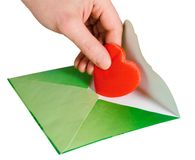 Mailing a Valentine Heart Stock Photography