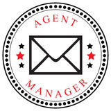 Mailings Agent or Manager. Creative symbol for the Agent or Manager, mailings. Vector illustration Stock Images