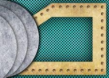 Maille de turquoise ou de sarcelle d'hiver avec les plaques de métal, 3d, illustration Photographie stock