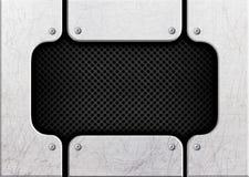 Maille noire en acier sur un fond des barres en métal, 3d, illustration Photos stock