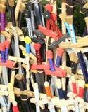 Maillet et d'autres armes médiévales pendant la reconstitution Images stock