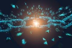 Maillon faible d'un blockchain cassé éclatant - 3d rendent illustration stock
