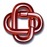 Maillons de chaîne rouges joints ensemble dans l'unité Image libre de droits
