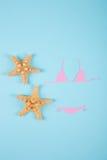 Maillot de bain de papier rose de bikini avec deux étoiles de mer sur le backgroun bleu Photos stock