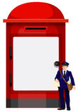 A mailman beside the big mailbox Royalty Free Stock Photography