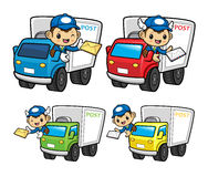 Mailman Character is a letter delivered by a truck. Stock Photo