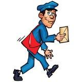 Mailman del fumetto che trasporta posta Immagine Stock