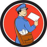 Mailman Deliver Letter Circle Cartoon Royalty Free Stock Photo