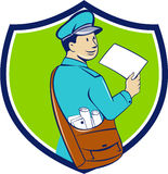 Mailman Deliver Letter Crest Cartoon Royalty Free Stock Photography