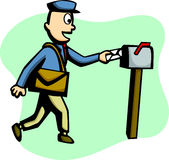 Mailman delivering a mail vector illustration. Vector illustration of a mailman delivering a mail Royalty Free Stock Image