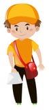 Mailman in orange shirt delivering letter royalty free illustration