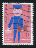 Mailman. RUSSIA KALININGRAD, 26 OCTOBER 2015: stamp printed by Belgium, shows Mailman, circa 1969 Royalty Free Stock Photo