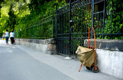 Mailman's bag. The bag of mailman on the street Royalty Free Stock Image