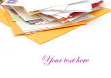 Mails. Monthly mails collection in home box Royalty Free Stock Photography