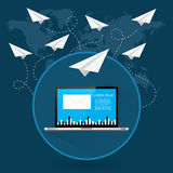 Mails flying around the world as paper airplanes. Mails flying around the world as the paper airplanes vector concept Royalty Free Stock Photo