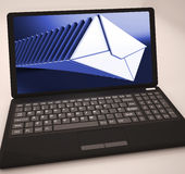 Mails List At Laptop Shows Ongoing Messages Stock Image