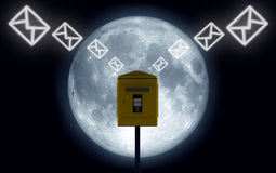 Mails moon. Image in 3d of mails Royalty Free Stock Photos