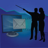 Mails and presentation. Silhouette view of mails and presentation Stock Images