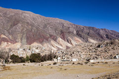 Maimara - the Painter's palette colorful mountains in Jujuy, Nortern Argentina Royalty Free Stock Photo