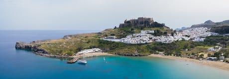 Main aerial panorama of Lindos Royalty Free Stock Photos