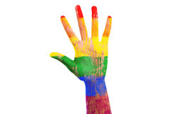 Main africaine avec un indicateur peint de lgbt Images libres de droits