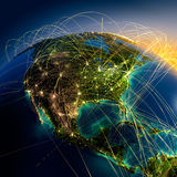 Main Air Routes In North America Royalty Free Stock Photo