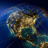 Main air routes in North America Stock Photos