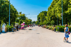 Main alley of Moscow Gorky park Royalty Free Stock Image