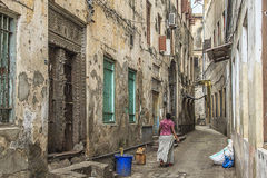 Main alley way, Stone Town, Zanzibar. Streets of Stone Town in Zanzibar - Tanzania royalty free stock photo