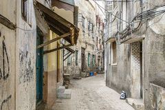 Main alley way, Stone Town, Zanzibar. Streets of Stone Town in Zanzibar - Tanzania stock photo